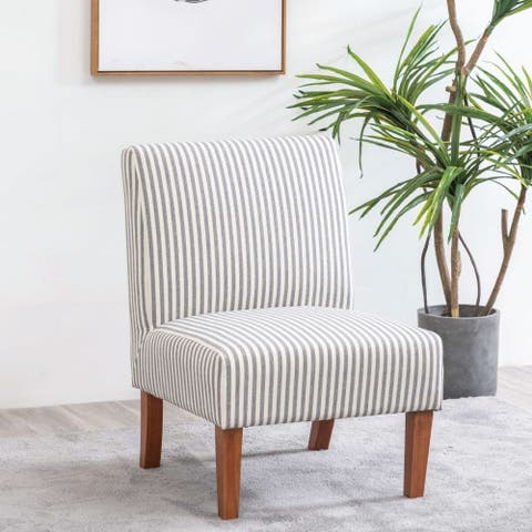 Kotter Home Armless Striped Slipper Accent Chair