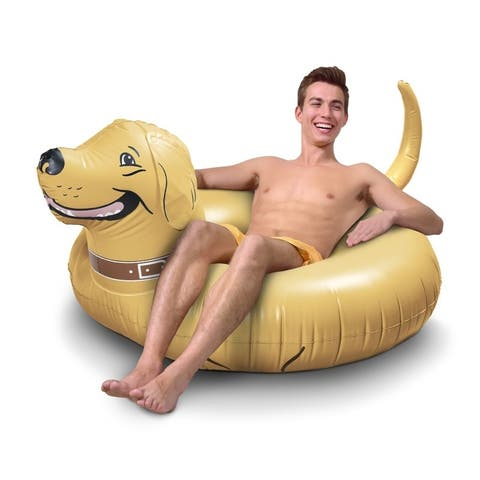 GoFloats Buddy the Dog Party Tube Inflatable Raft, Float in Style (for Adults and Kids)