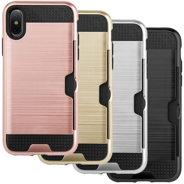Silicone and Hard Plastic Case with Card Holder for iPhone X or Xs