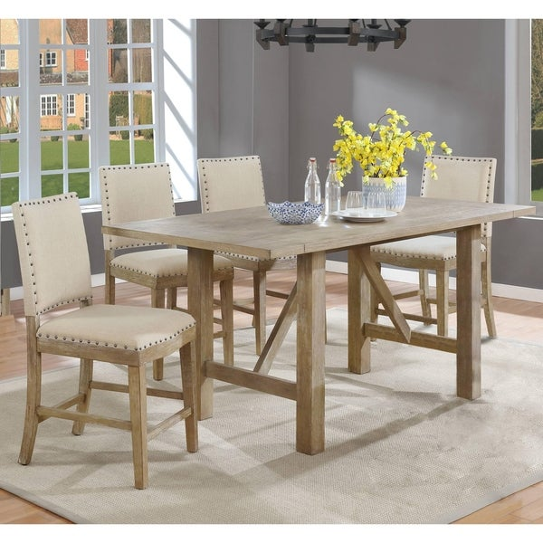Best Quality Furniture Rustic Beige Counter Height Dining Sets with Upholstered Counter Height Chairs. Opens flyout.