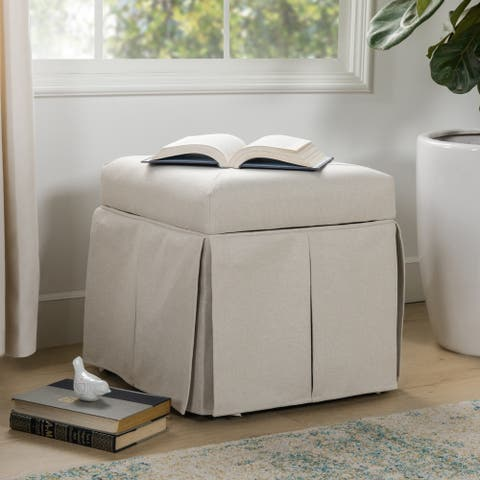 Avila Square Storage Vanity Footstool Ottoman Cube