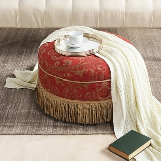 """Link to Vienna 24"""" Jacquard Decorative Round Ottoman Footstool Similar Items in Cocktail Ottomans"""