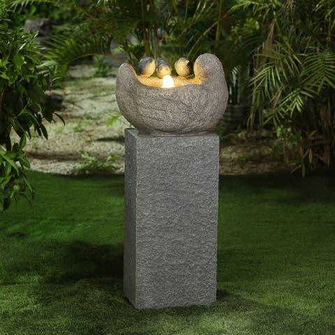 Cement Birds Pedestal Patio Fountain with LED Lights