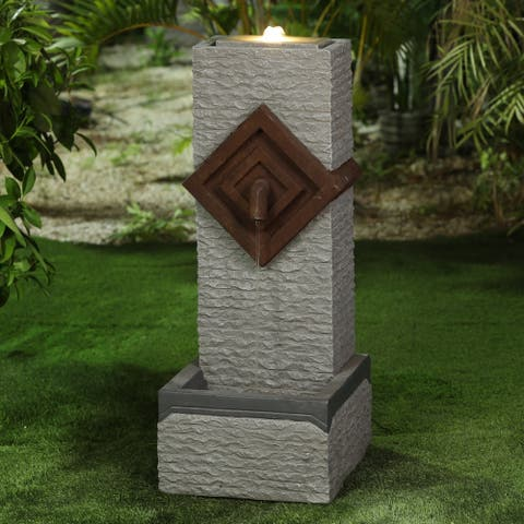 Cement Modern Textured Pedestal Patio Fountain with LED Lights