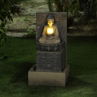 Resin Meditating Buddha on Pedestal Patio Fountain with LED Lights