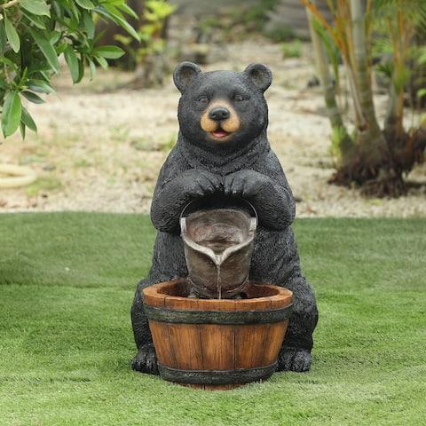 Polyresin Black Bear Outdoor Fountain