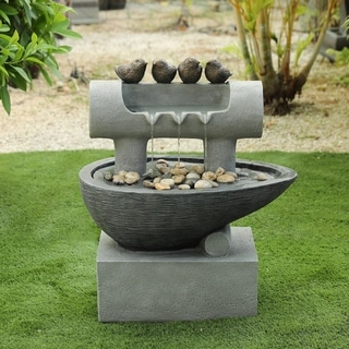 Cement Birds Post and Pedestal Patio Fountain