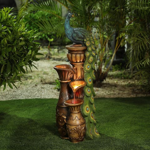 Resin Pedestal Peacock and Urns Outdoor Fountain