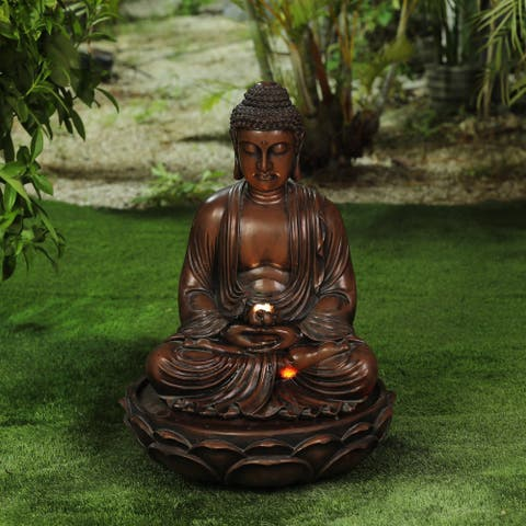 Polyresin Meditating Buddha Patio Fountain with LED Lights