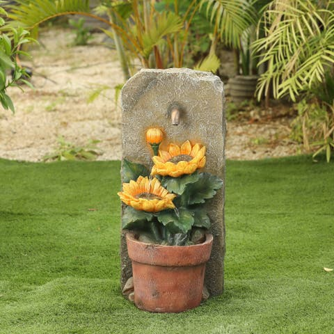 Polyresin Sunflower and Pot Patio Fountain
