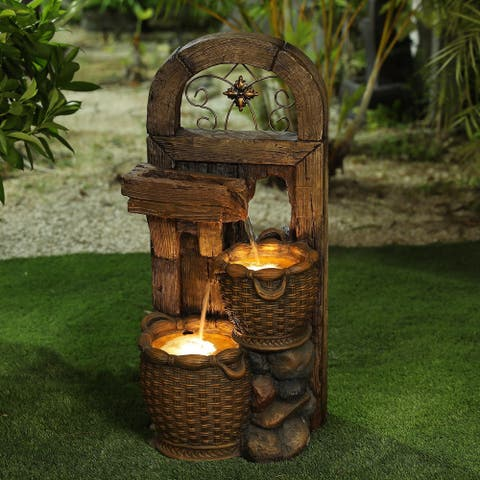 Resin Rustic Arch Window Baskets Outdoor Fountain