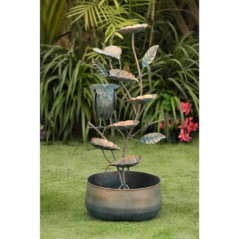 Metal Cascading Leaves Outdoor Fountain