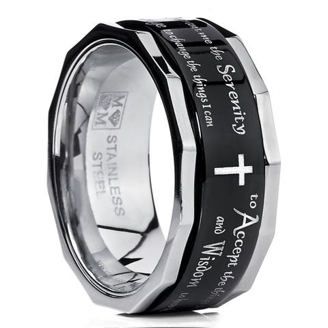 Oliveti Men's Black Stainless Steel Religious Cross Serenity Prayer Spinner Ring 9MM