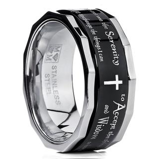 Link to Oliveti Men's Black Stainless Steel Religious Cross Serenity Prayer Spinner Ring 9MM Similar Items in Rings