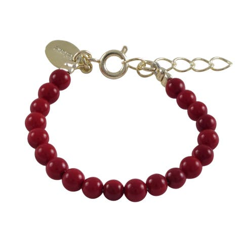 Luxiro 4mm Red Shell Pearls Baby Bracelet, 3'' + 1'' Extender