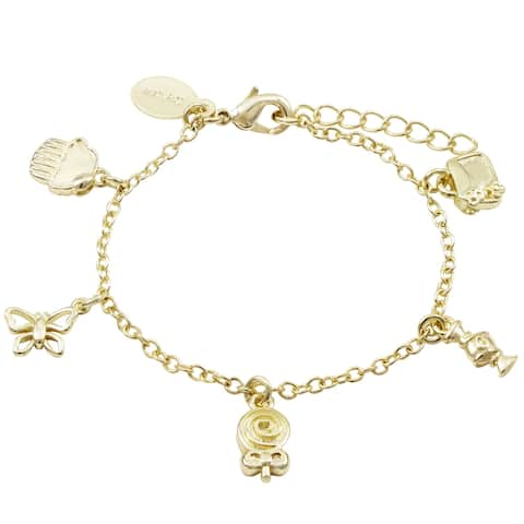 Luxiro Gold Finish Girl's Sweets Charm Bracelet