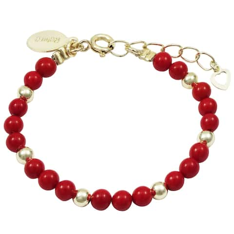 Luxiro Red 4mm Pearls and Gold Balls Baby's Bracelet