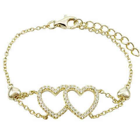 Luxiro Sterling Silver Cubic Zirconia Double Open Heart Girl's Bracelet