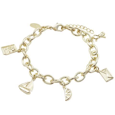 Luxiro Gold Finish Cute Teen's Dangling Charm Bracelet