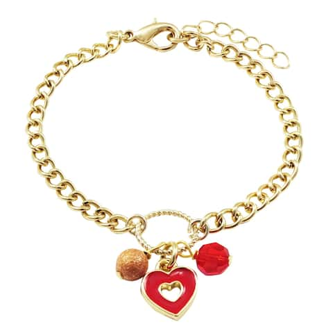 Luxiro Red Enamel Heart, Laser Ball and 4MM Red Bead Charm Bracelet, 6'' + 1'' Extender