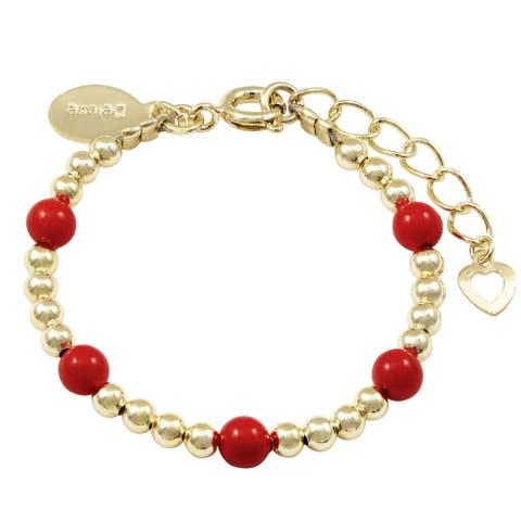 Luxiro Gold Finish 2mm Balls with Red 3mm Balls Girl's Bracelet