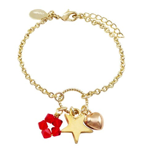Luxiro Gold Finish Red Beads Star Heart Charm Bracelet