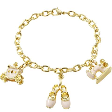 Luxiro Pink Enamel Sewing Machine, Ballet Shoes and Carriage Charm Bracelet
