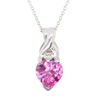 Gems en Vogue 10k White Gold Created Pink Sapphire & Diamond Pendant