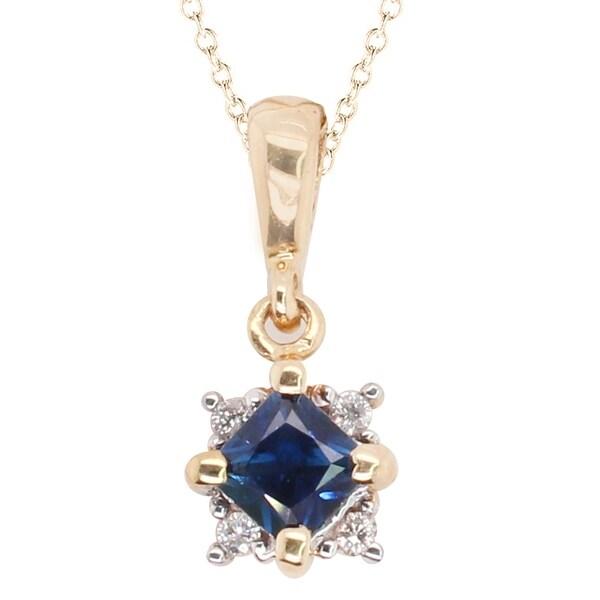Gems en Vogue 14k Yellow Gold Blue Sapphire & Diamond Pendant