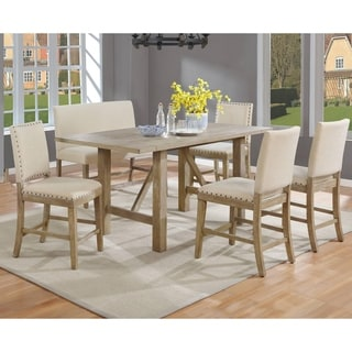 Link to Best Quality Furniture 6-Piece Rustic Beige Counter Height Dining Set with Upholstered Counter Height Chairs and Bench Similar Items in Dining Room & Bar Furniture