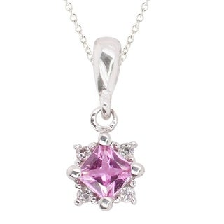 Gems en Vogue 14k Yellow Gold Pink Sapphire & Diamond Pendant