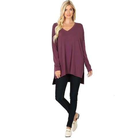 JED Women's Comfy Fit Dolman Sleeve V-Neck Tunic Top S-3XL