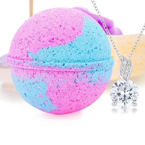 Bath Bomb Deluxe 8oz. And Surprise Jewelry Pendant, Perfect for Bubble Spa Bath