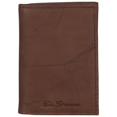 Ben Sherman Full-Grain Marble Crunch Leather Trifold Anti-Theft RFID Wallet - Multiple Colors