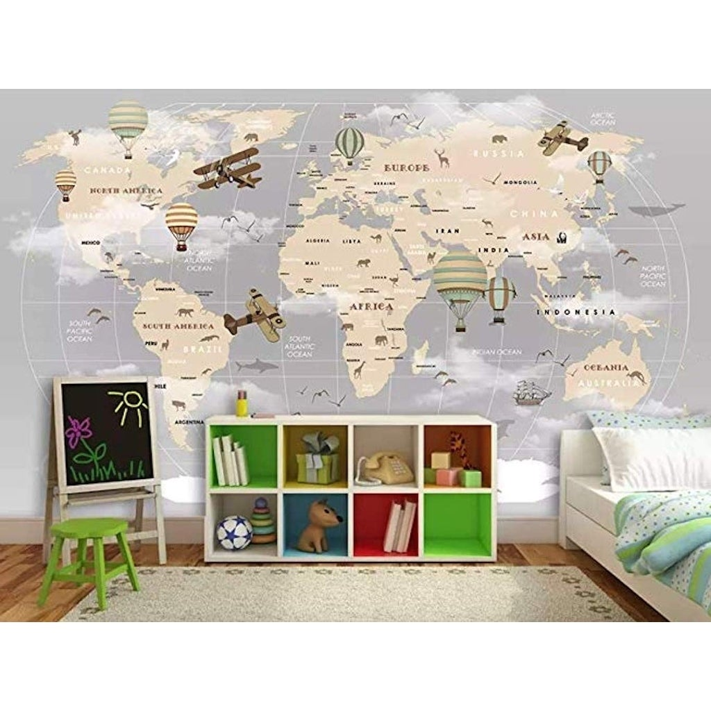 Vintage World Map Hot Air Balloon Textile Wallpaper On Sale Overstock 30920322