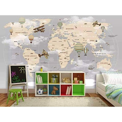 Vintage World Map Hot Air Balloon Textile Wallpaper