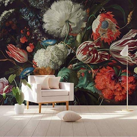 Red Tulip Flower Floral Textile Wallpaper
