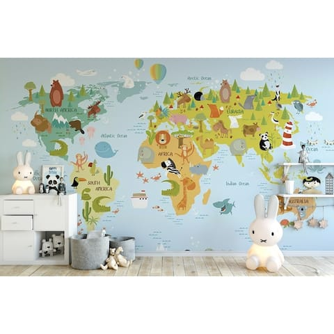 Colorful World Map Animals Textile Wall Paper
