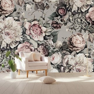 Link to Peony Blossom Dark Floral Pink Textile Wallpaper Similar Items in Wall Coverings