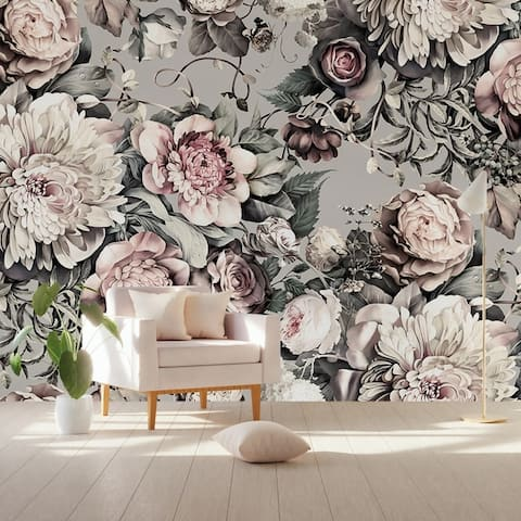 Peony Blossom Dark Floral Pink Textile Wallpaper