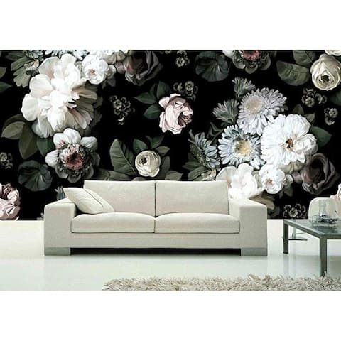 White Peony Blossom, Dark Floral Textile Wallpaper