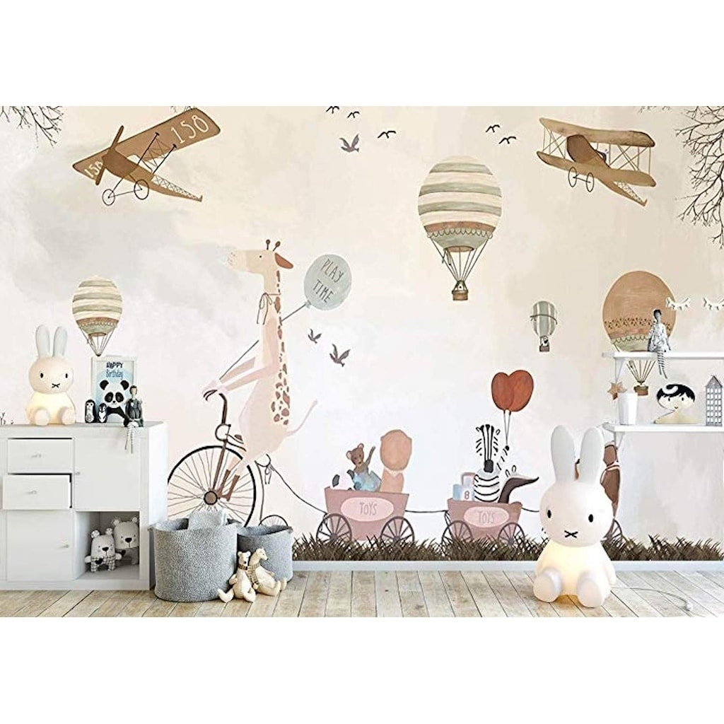 Vintage Hot Air Balloons Animals Textile Wallpaper Overstock 30920334