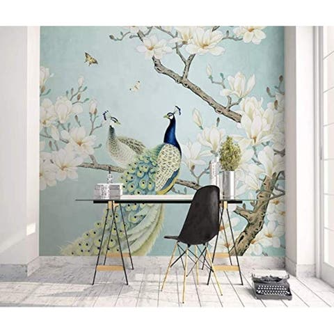 Chinese Peacock Magnolia Textile Wallpaper