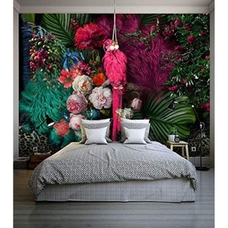 Link to Floral Colorful Peony Flower, Parrot Textile Wallpaper Similar Items in Wall Coverings