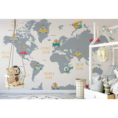 World Map and Cartoon Animals Textile Wall Paper