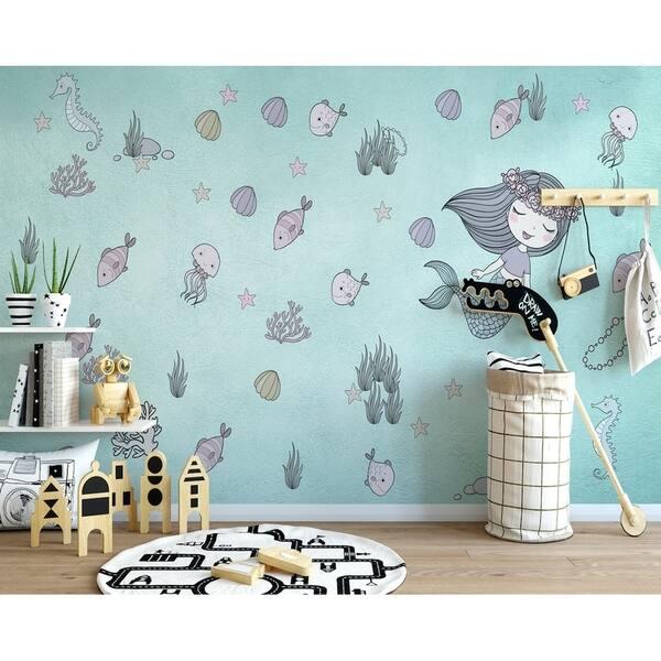 Mermaid Ariel Starfish Kids Textile Wallpaper Overstock 30920356