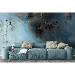 Turquoise Gold Abstract Wave Textile Wallpaper