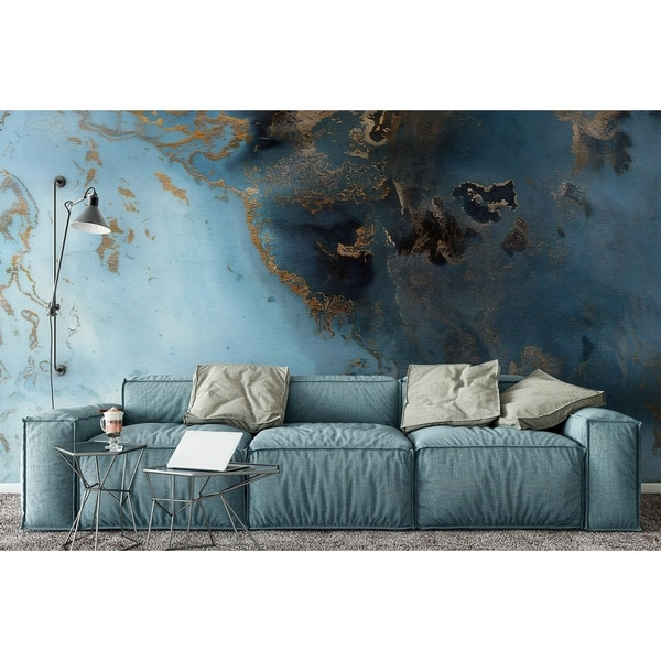 Turquoise Gold Abstract Wave Textile Wallpaper. Opens flyout.