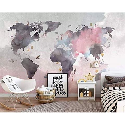 Pink Gray Scandinavian World Map Textile Wallpaper