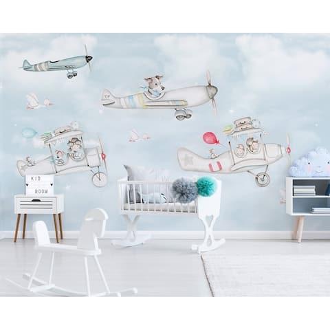 Cartoon Aircraft Sky Landscape Textile Kids Wallpaper